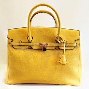 Handbags - Creamy Yellow Fashion Inspired Tote Bag Faux Leath